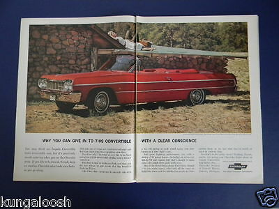 1964 Chevrolet Impala Convertible Red Car Sales 2 Page Photo Ad