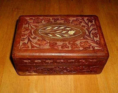 Antique Hand Carved Sheesham Wooden Inlaid Floral Design Trinket Box Jewelry Box