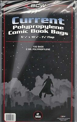 """500 BCW Current/Modern Comic Bags/Sleeve 2 Mil Poly 6 7/8"""" x 10 1/2"""" w/1.5"""" Flap"""