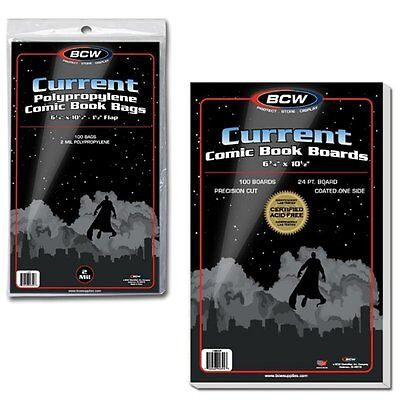 100 BCW Current Comic Bags/Sleeves and 100 Boards