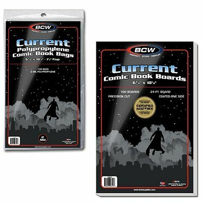 200 BCW Current Modern Comic Bags/Sleeves AND 200 Boards