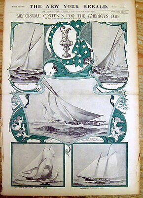 Large original 1899 COLOR Display Poster showingEarly AMERICAS CUP racing yachts