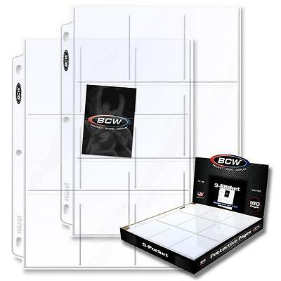 Box 100 BCW 9-Pocket Clear Trading/Sports Card Album Pages/ Coupon Binder Sheets