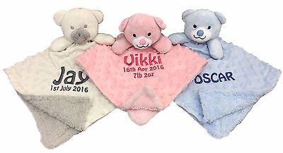 Dimpled Fleece Lined Personalised Embroidered Baby Comforter Snuggle Blankie