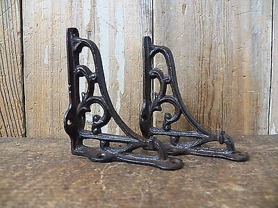 Lot 2 Antique-Style RUSTIC Cast Iron VERY SMALL 3.5 x 4 Shelf SHELVING BRACKETS