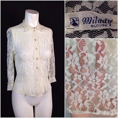 Vintage 1940s White Lace Floral Sheer Button Up Cropped Blouse Shirt