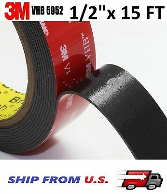 "3M VHB Double Sided Foam Adhesive Tape 5952 Automotive Mounting 1/2"" x 15 FT"