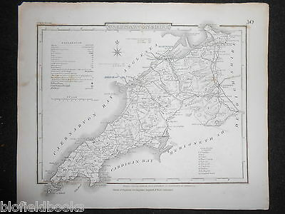 Original Antique Map of Caernarvonshire (North Wales)  c1850s - Dugdale, Bangor