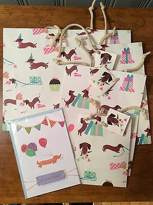 Dachshund Birthday Greeting Card & Gift Bags NEW - Weiner dogs