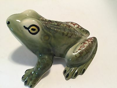 """Vintage Green Ceramic Frog Brown Designs Shiny Finish 6"""" Garden and Home Decor"""