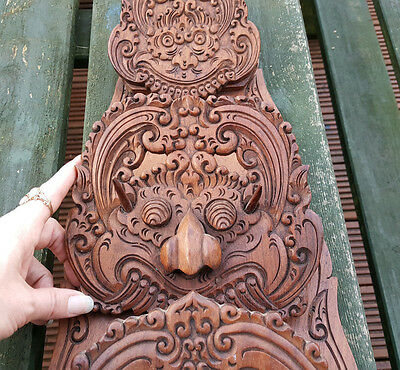 Oriental Wood Carving Letter Rack. Bali Malaysia Thai Chinese Lion faced Dragons