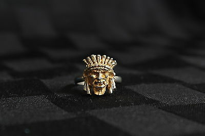 Indian Chief Vintage Gold Tone Child's Ring Size 5 3/4
