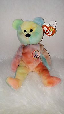 7b365c91e49 Rare Ty Beanie Baby Peace Bear Original Collectible with Tag Errors