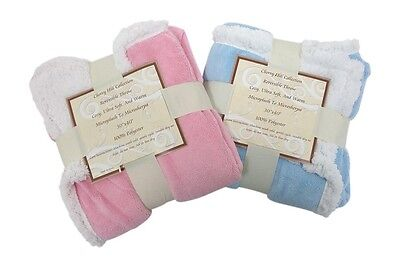 Baby Blanket Pink Girl Reversible Sherpa/Microplush Cozy Warm Ultra Soft 30x40""
