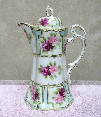 Outstanding Nippon Porcelain Chocolate Pot Hand Painted Red/Pink Rose Sectional