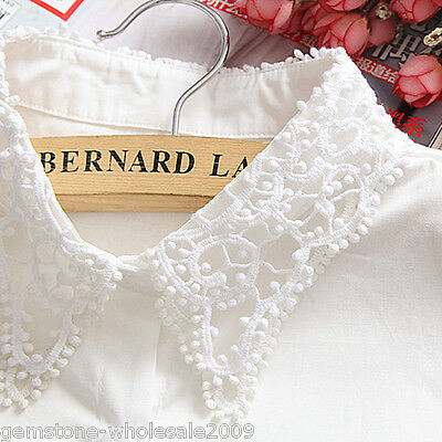 New Women White False Collar Detachable Shirt Flower Fake Stand Collar GW