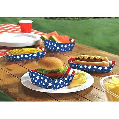 Patriotic Red White And Blue Paper Food Trays 16 Pieces 4th of July