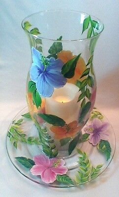 Hand Painted Hibiscus Hurricane Globe Candle Holder With Matching Plate
