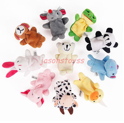 10 Pcs Family Finger Puppets Plush Cloth Doll Baby Educational Animal Toy Set #
