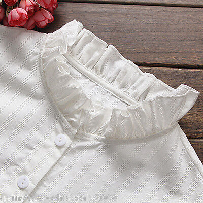 Fashion Women White False Collar Detachable Shirt Falbala Fake Stand Collar GW