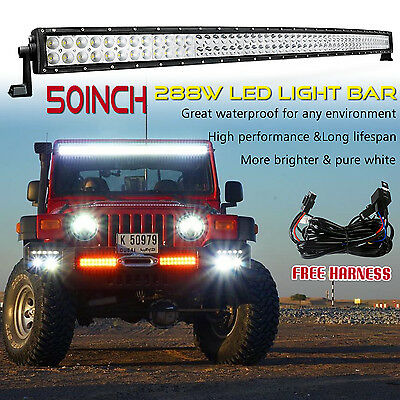 50 Inch Curved Spot Flood Led Light Bar Combo Beam Jeep Offroad Truck SUV 4WD 52