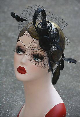 Womens Sinamay Fascinator Cocktail Hat Church Party Wedding Kentucky derby A356
