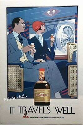 1987 DRAMBUIE Liqueur Couple Travel Retro Art UK Mag RARE Vintage PRINT AD