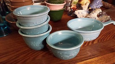 5 Pieces 1960s Taylor Smith Taylor Homer Laughlin Turquoise Oven Serve Ware EUC