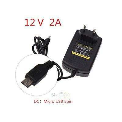 EU Plug AC to DC 12V 2A Micro USB Power Supply Adapter for Windows Android Table