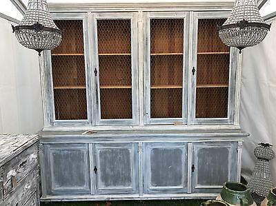 French, 19th Century, Antique, Vintage, Painted Dresser Cupboard