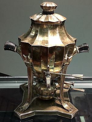 Silver German Deco Hot Water Kettle And Stand