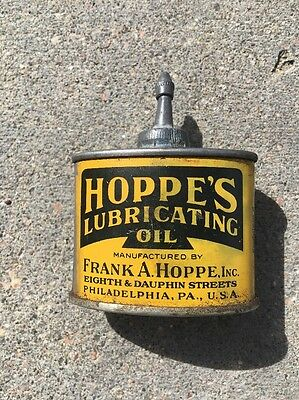 Vintage Hoppe's Lubricating Oil Lead Top Can 1 Ounce Rare Handy Oiler