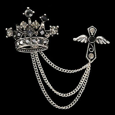 New Men Jewelry Accessories Rhinestones Crown Cross Badge Tassel Brooch JG