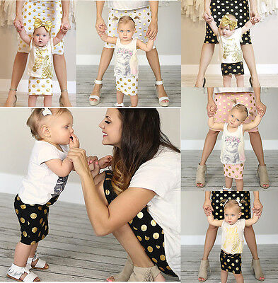 Family Style clothes matching mother daughter spolka dot prints T-Shirt+Pants
