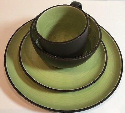 Dansk Spin Pattern 4 Piece Place Setting Green & Brown Stoneware