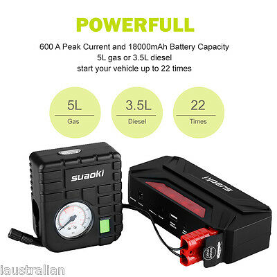 Suaoki 18000mAh Car Jump Starter Battery Charger Booster Auto Start Power Bank