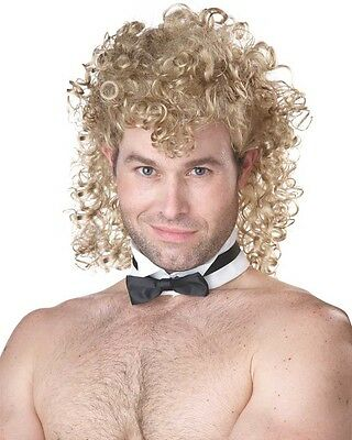 Curly Mullet Blonde Wig With Collar And Tie One Size