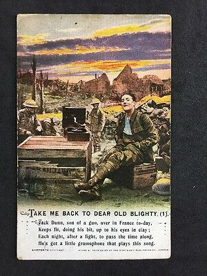 Vintage Postcard: Military Song Card #A112 Take Me Back To Dear Old Blighty (1)