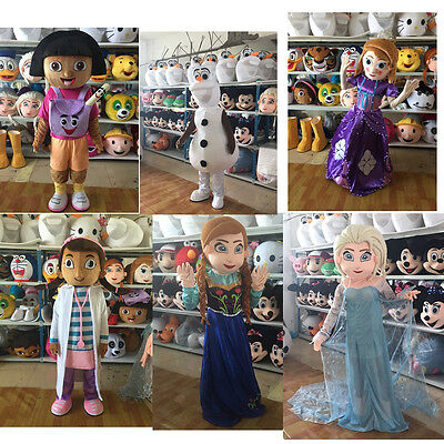 Elsa & Anna & Olaf Princess Mascot Costume Frozen Party Fancy Dress Adult