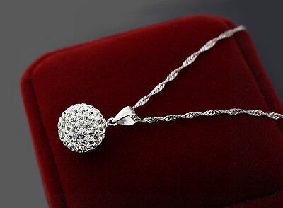 Women Crystal Necklace Chain Sterling Silver Fashion Plated Pendant Jewelry GZ^