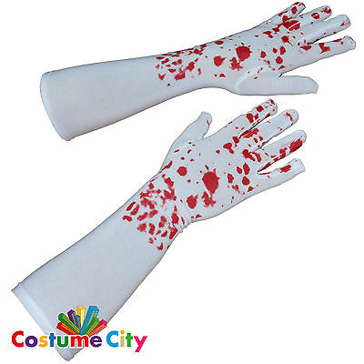 Adults Elbow Length Bloody White Gloves Halloween Fancy Dress Costume Accessory