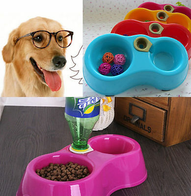 Newly Dish Water Food Feeder Fountain Double Bowl Hot Puppy Dog Cat Plastic