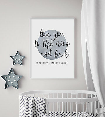 Love You to the Moon & Back - A5 Nursery Print - Baby/Children's Wall Art