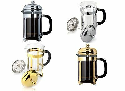 Cafe Ole Classic Coffee Maker Glass Cafetiere, Chrome or Gold Finish
