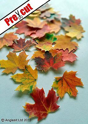 Pre-Cut Maple Leaves Autumn Fall Edible Wafer Paper Cup Cake Topper Decorations