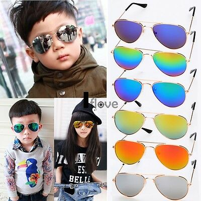 Children Kids Toddler Sunglasses Retro Shades UV400 MIRROR LENS Boys Girls