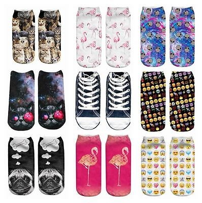 Womens/Men/Kids/Girls/Boys Emoji Aliens Galaxy Cats Bone BullDog Pug Flamingo