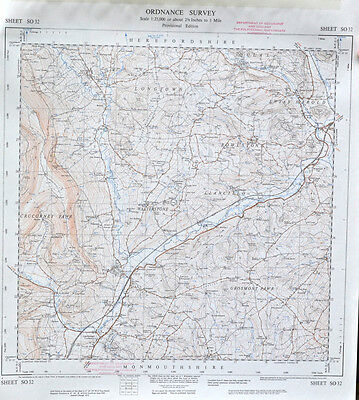 Vintage original 50s/60s unfolded map Monmouth/Herefordshire: Walterstone SO32