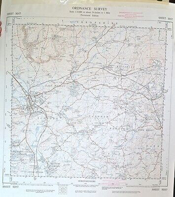 Vintage original 1950s/60s unfolded sheet map Herefordshire: Ludlow SO57