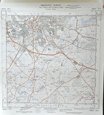 Vintage original 1950s/60s unfolded map Warwickshire: Coventry; Bubbenhall SP37